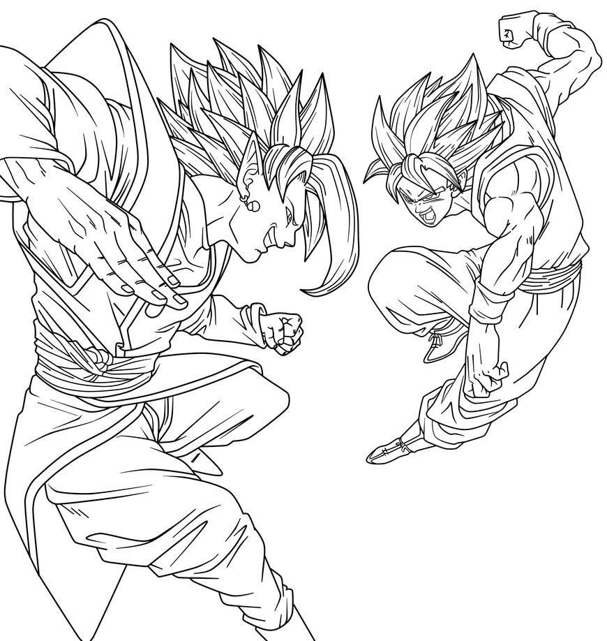 dbz goku coloring pages - goku vs zamasu by saodvd on deviantart