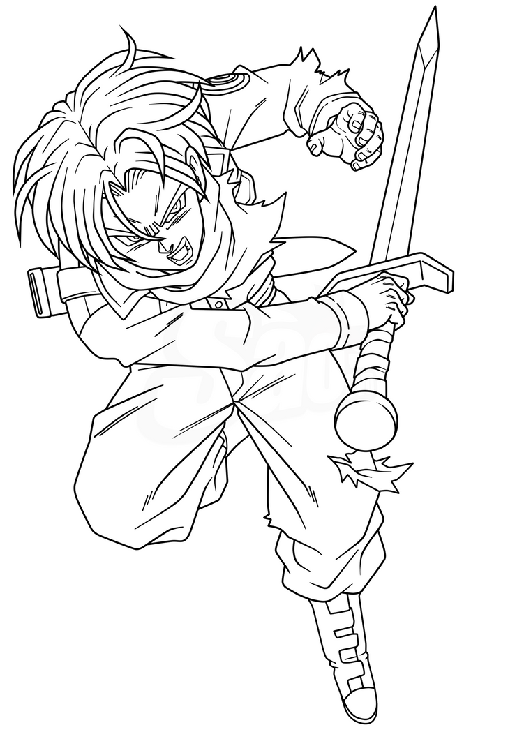 Ssj 2 trunks free coloring pages for Super saiyan trunks coloring pages
