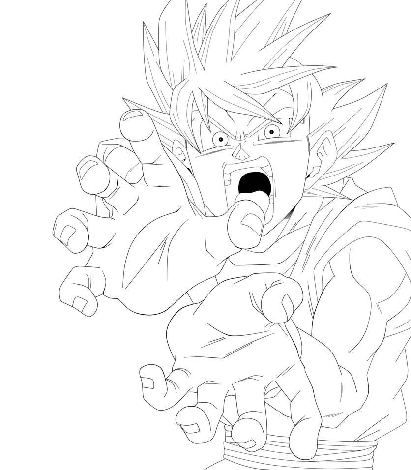 Goku God - Lineart by SaoDVD