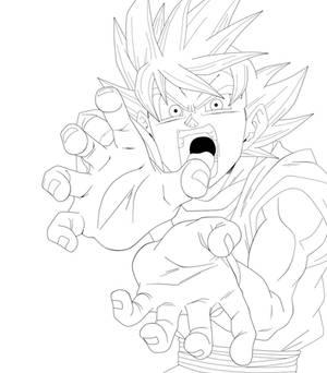 Goku God - Lineart