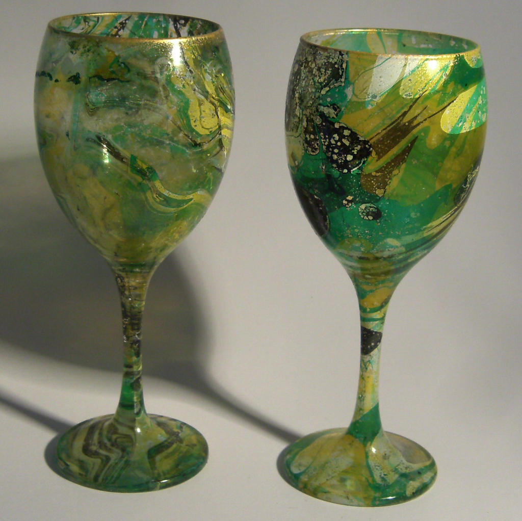 Green, Yellow and Black Marble Dipped Wine Glasses by IEGlassworks