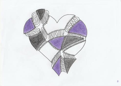 stitched up linked heart
