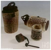 Carved salt boxes by Sholosh
