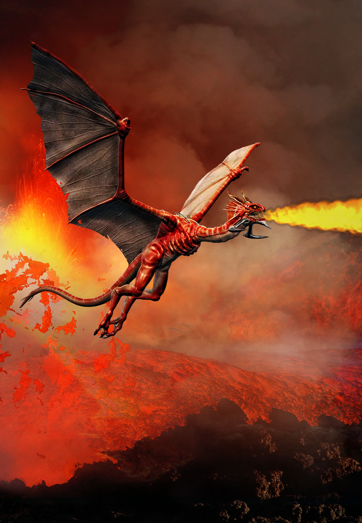 Fire Dragon in the sky by Ancient--One