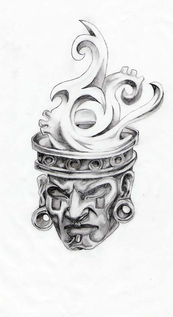 Aztec Head by ShyBoy69 on DeviantArt  Aztec Pencil Drawings