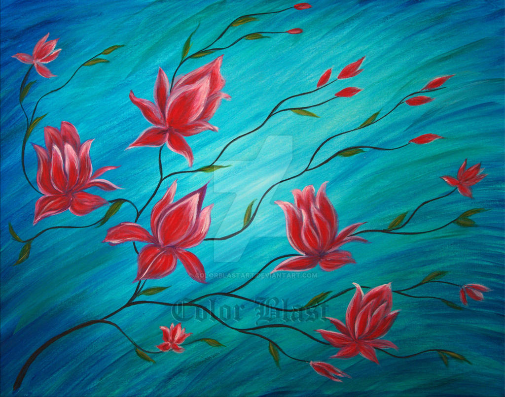 Original painting abstract serene lotus painting by colorblastart original painting abstract serene lotus painting by colorblastart izmirmasajfo