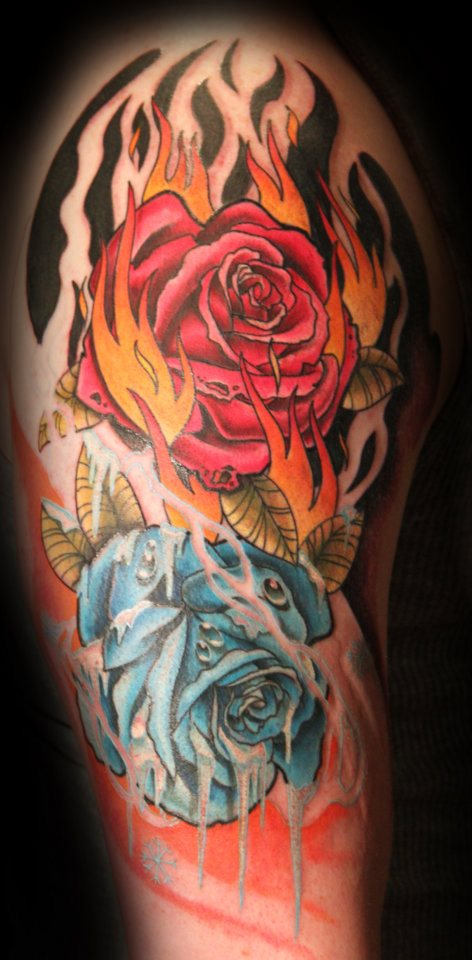 Fire and ice roses by thejorell on deviantart for Fire and ice tattoo shop