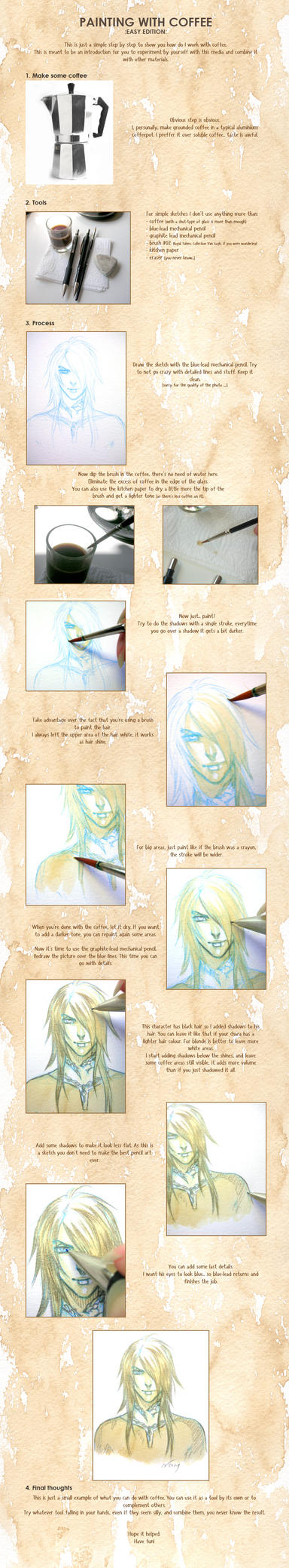 Coffee painting tutorial by noiry on deviantart for Painting with coffee grounds