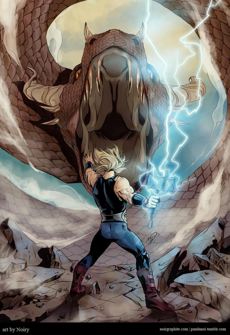 Thor VS Jormungandr by Noiry on DeviantArt