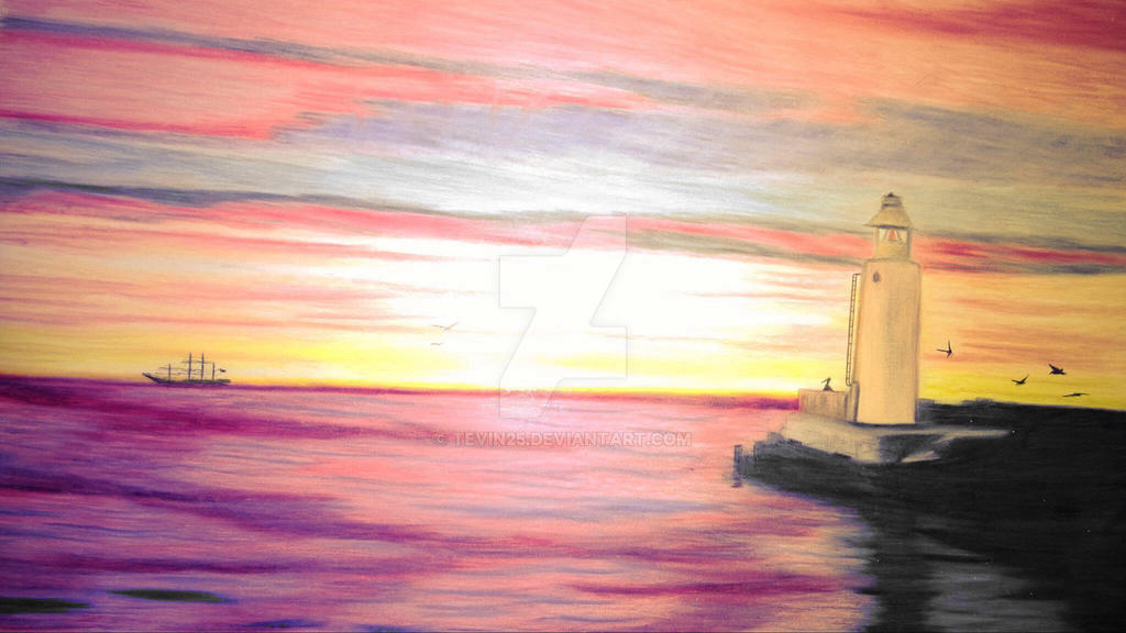 Pencil Drawings Colored Pencil Sunset Drawings