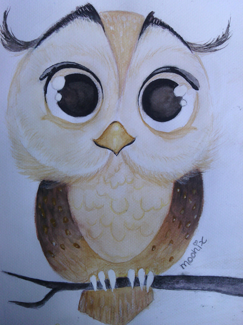 Owl cute watercolor painting by moonix 20 on for Cute watercolor paintings