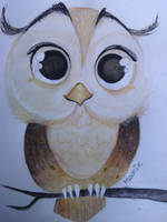 Owl cute  - watercolor painting - ^_^ by moonix-20