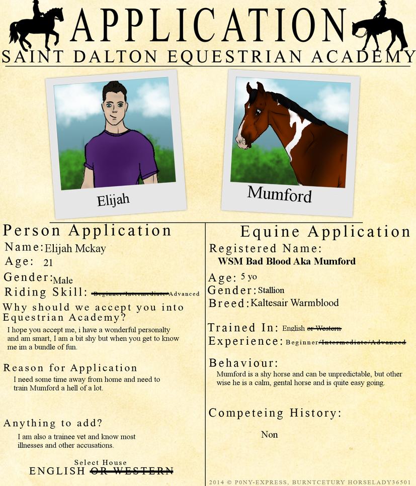Application fo Saint Dalton Equine Academy by NorthernMyth