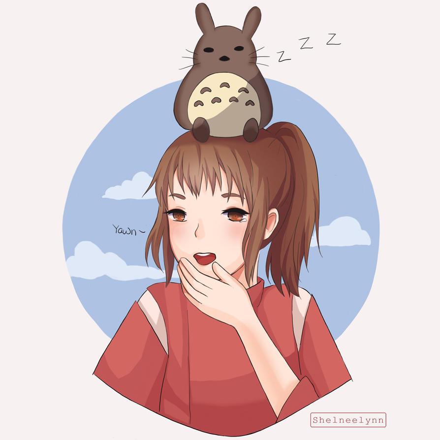 Chihiro and Totoro by ShelneeLynn