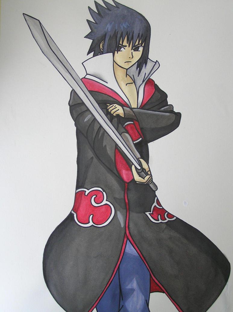 how to draw sasuke full body