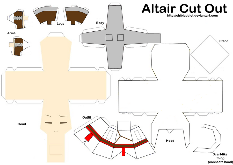 Altair paper doll template by chibiaddict on deviantart for Paper doll templates cut out