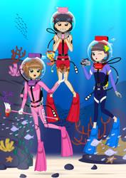 [Art Gift] CCS : Sakura and Friends' Fun Dive by ZhmieXD