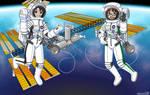 Makoto and Ritsuko's Space Break (Colored Lineart)