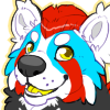 blue and red panda by Kiboku