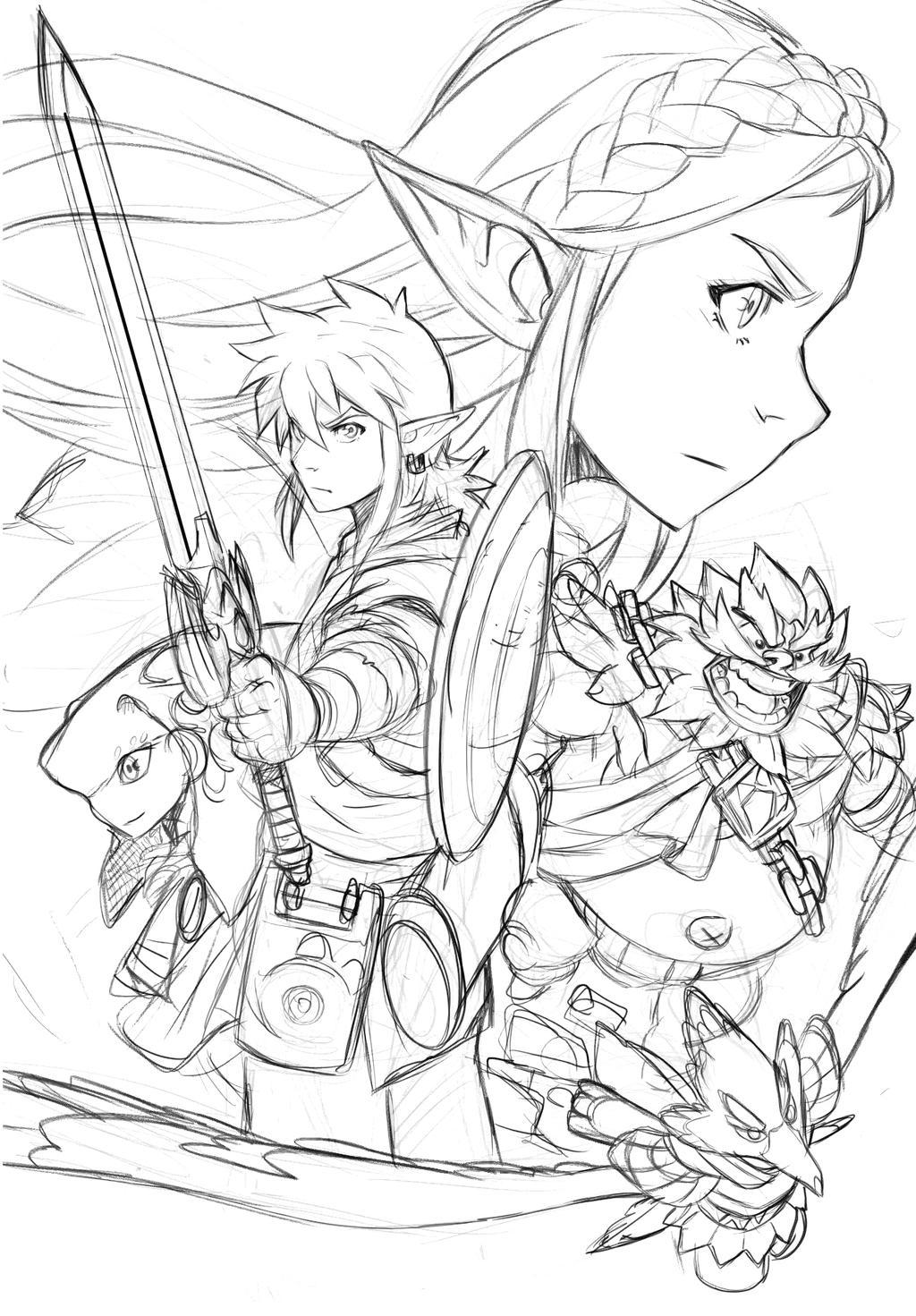 Zelda Breath Of The Wild - Sketched Composition by ...