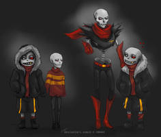 UnderFell skelefamily - before and after