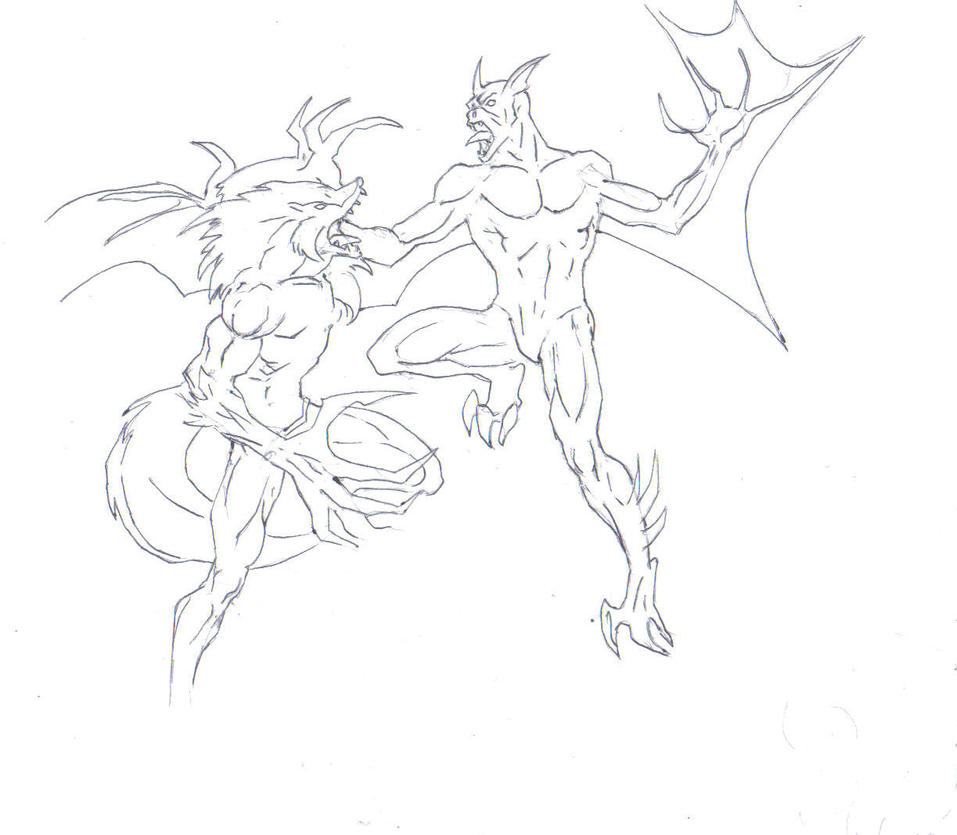 werewolf vs vampire drawing by electronicdave on deviantart