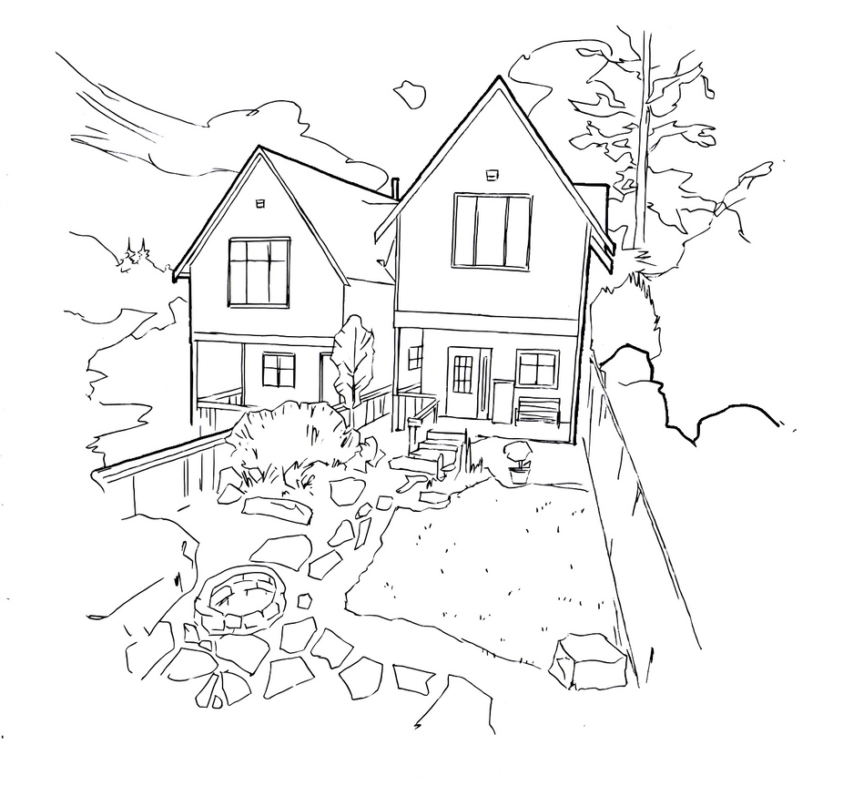 House drawing1 (line art) by electronicdave