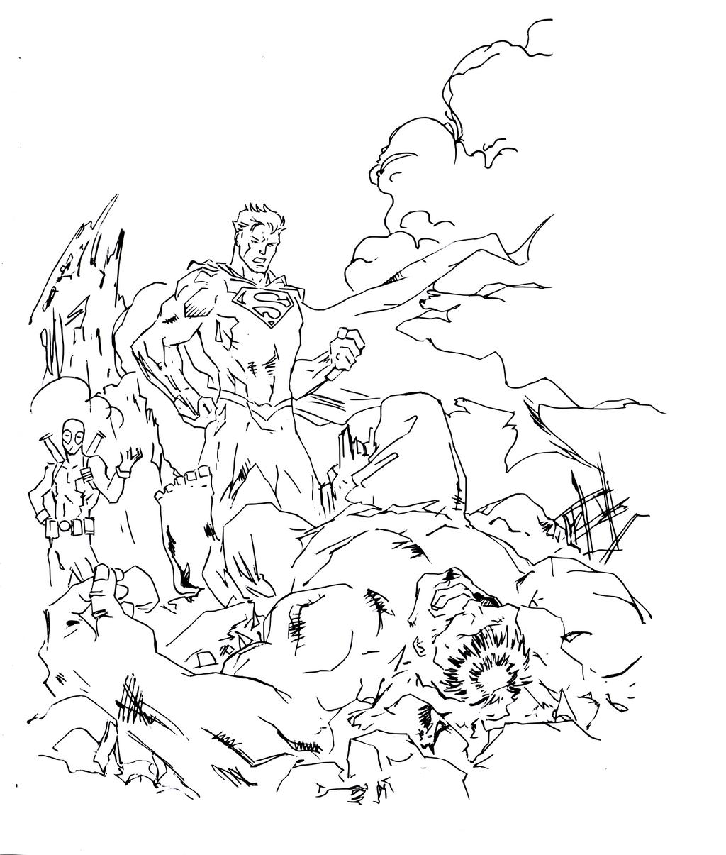 Superman vs hulk drawing (line art) by electronicdave