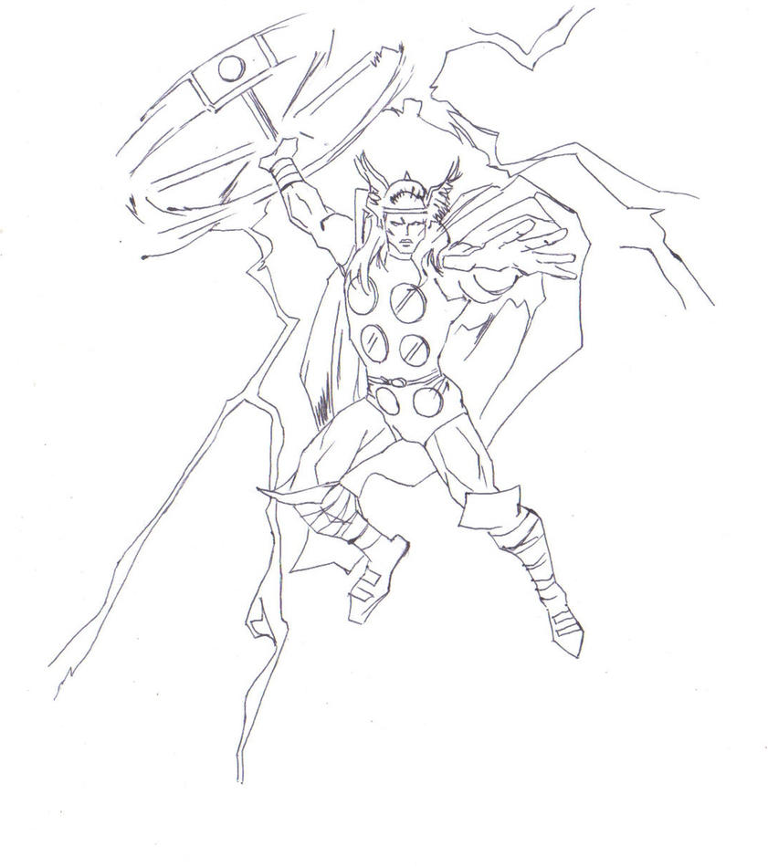 Thor drawing (line art) by electronicdave