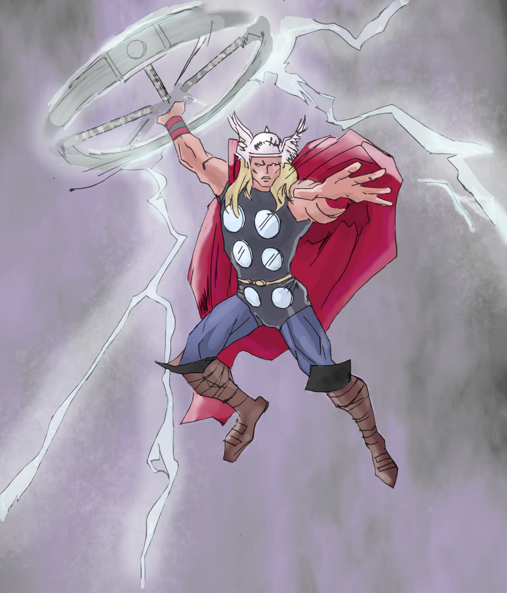 Thor drawing (colored) by electronicdave