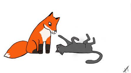 Fox and Cat by SassyCompanionCube