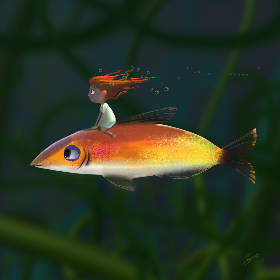Fish Rider by GorosArt