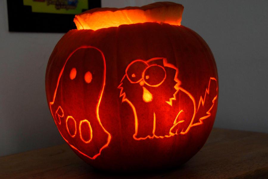 Simon's Cat Halloween Pumpkin 2014 by scarykurt