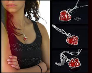 Dark Orange Flintknapped Heart Necklace by DanielAPierce