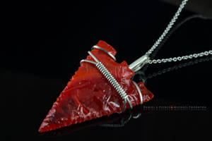 Serrated Edge  Red An Orange Arrowhead Necklace by DanielAPierce