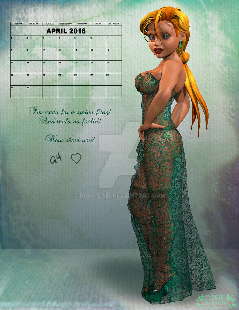 G4 April 2018 Calendar Pinup by Rods-Lair