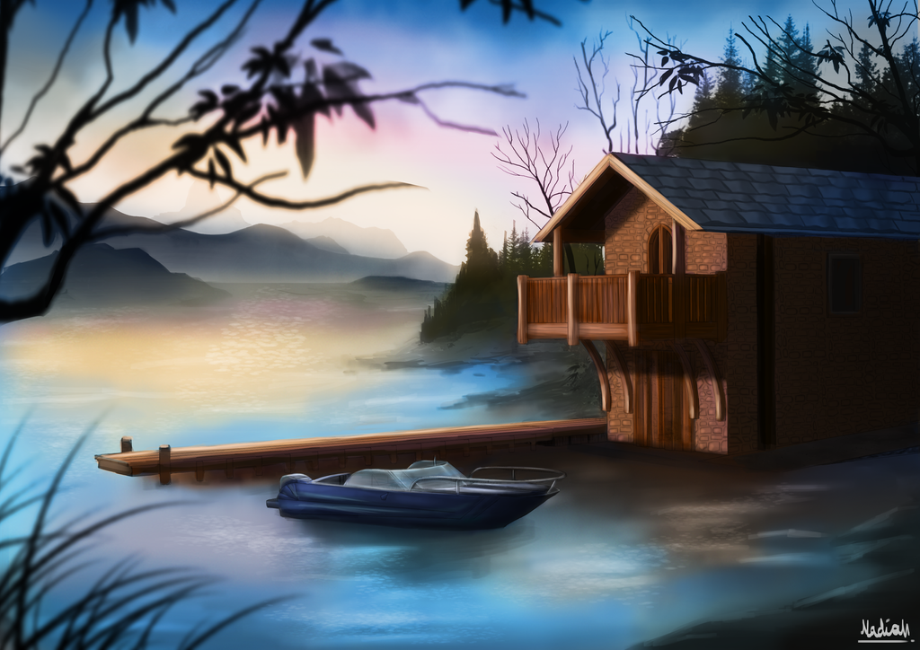 Digital painting practice lake house morning by for Digitally paint your house