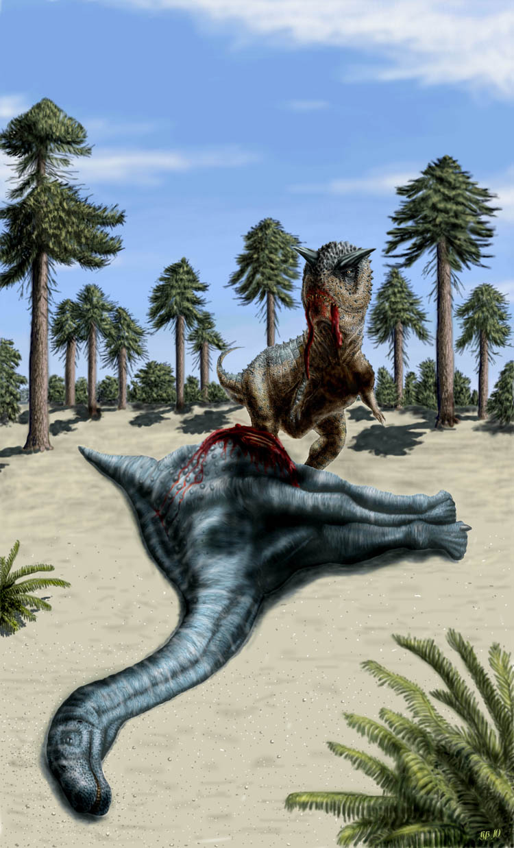Carnotaurus and a corpse chubutisaurus