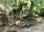 Allosaurus atrox attacks on Dryosaurus