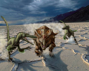 Velociraptor attack Bagaceratops by Plioart