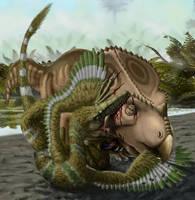 Velociraptor and Protoceratops by Plioart