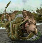 Velociraptor and Protoceratops