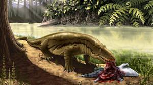 Titanophoneus eats its prey tryphosuchus.