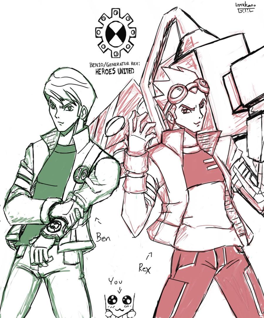 Ben 10-Generator Rex: Heroes United sketch by LynxKano