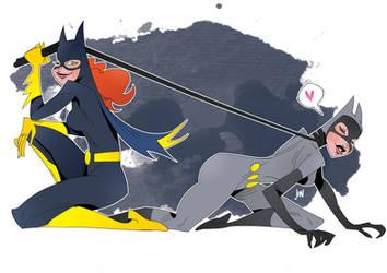 Batgirl / Catwoman by J0N-Lankry