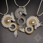 White dragon pendants