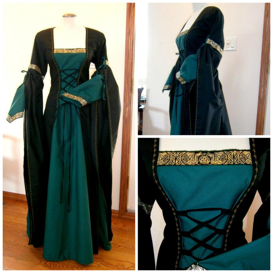 Black teal/green Renaissance dress, dragon lace by CadwaladrCostumes ...