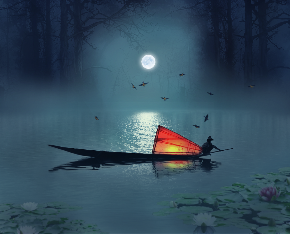 Fisherman in a Lake by Naevon