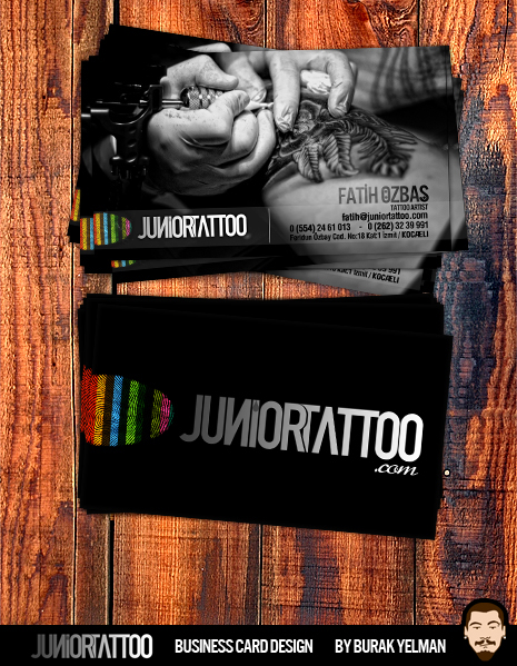 Junior tattoo business card by burakyelman on deviantart for Business card size tattoos