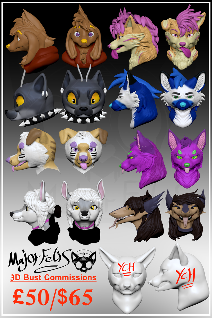 3D Bust Commissions by MajorFelis